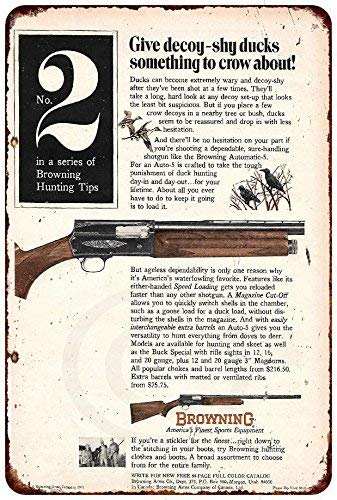 Browning NO. 2 AUTO 5 Gun AD Vintage Reproduction Metal Sign 8 x 12