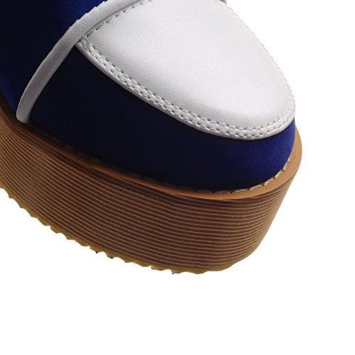 Amoonyfashion Tacco Da Donna In Gonnellino Colore Assortito Pull On Tacco Chiuso Scarpe-scarpe Blu