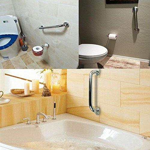 Yafeco Stainless Steel Shower Grab Bar - Shower Handle & Bathroom Balance Bar - Safety Hand Rail Support - Handicap, Elderly, Injury, Senior Assist Bath Handle, Non Skid (12 Inches) by Yafeco (Image #4)