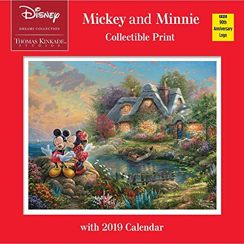 Thomas Kinkade Studios: Disney Dreams Collection Mickey and Minnie Collectible Print with 2019 Calendar