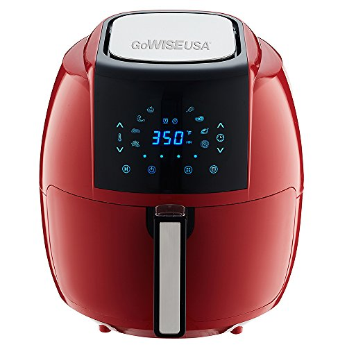 GoWISE USA 5.8-Quarts 8-in-1 Air Fryer XL with 6-PC Accessory Set + 50 Recipes for your Air Fryer Book (Chili Red) by GoWISE USA (Image #1)
