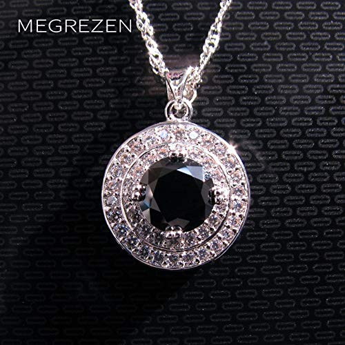 - Davitu Vintage Long Silver Chain Necklace Women Crystal Ornaments Pendentif Noir Black and White Jewelry Collier Ethnique Femmes Yn002 - (Metal Color: Platinum Plated, Main Stone Color: Green)