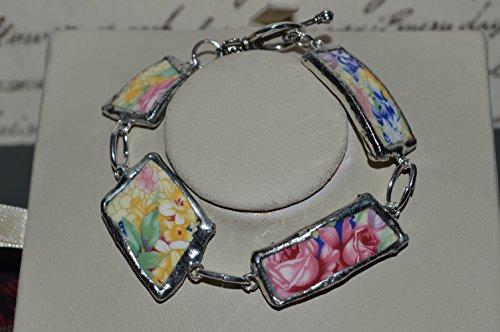 Recycled Broken Royal Winton Grimwades China Jewelry, Welbeck Chintz Bracelet