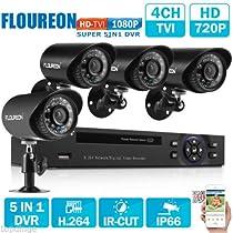 4CH 1080N CCTV 5IN1 TVI AHD HDMI DVR 1500TVL Video IR Camera Security System Kit