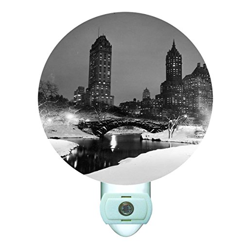 Central Park in the Snow Decorative Round Night Light -
