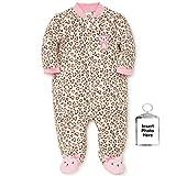 Little Me Warm Fleece Baby Pajamas with Feet Blanket Sleeper Footie Leopard Print Kitty 6 Months