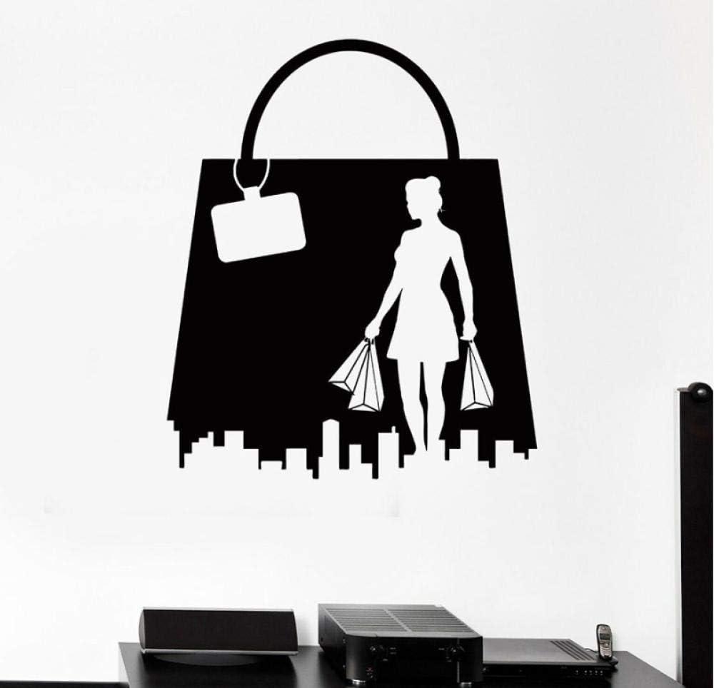 Pegatinas De Pared Mural Shopping Girl Woman Fashion Shop Bolso De Cuero Ventana De Vinilo Decoración Interior The Mall Center Art Mural 42X49 Cm