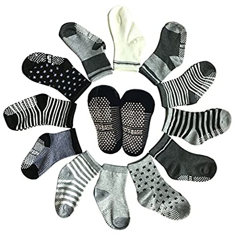 6 Pairs Toddler Assorted Non Skid Ankle Cotton Socks Kids Baby Boy Girl Anti-Slip Crew Walkers Unisex Grip Socks Sneakers Footsocks For 15-36 Months
