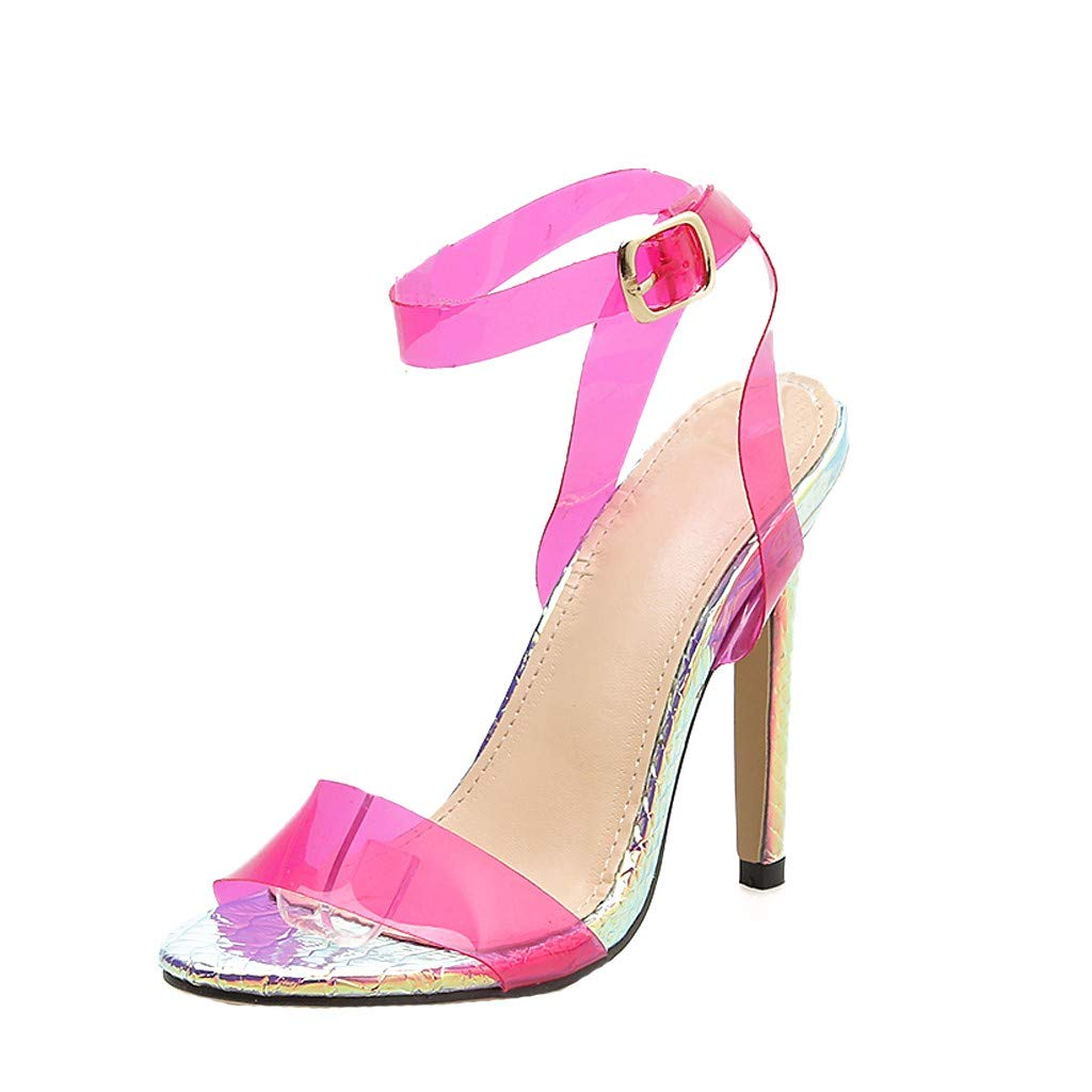 YEZIJIN Women Wedding Transparent Sandal Classic Button Party Coarse High Heels Slippers Platform/Flats Sandals Hot Pink