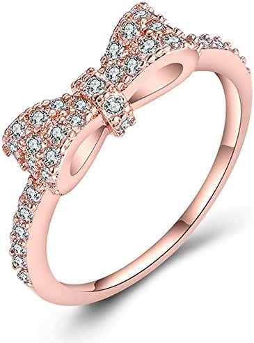 JUST N1 18K Rose Gold Plated Cute Bow Knot Fashion Design Engagement Wedding Rings for Girls Women, Size 6 to 9