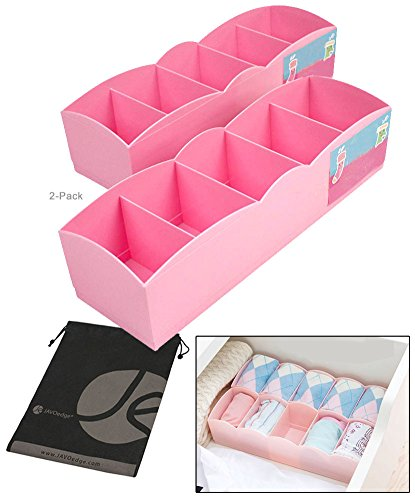 JAVOedge 2 Pack of Pink Organizing Plastic Underwear Drawer Divider for Small Clothing, Socks with Bonus Drawstring (Plastic Draw Divider)