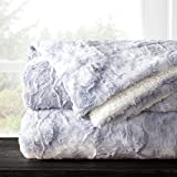 Italian Luxury Super Soft Faux Fur Throw Blanket - Elegant Cozy Hypoallergenic Ultra Plush Machine Washable Shaggy Fleece Blanket - 60'x70' - Light Gray