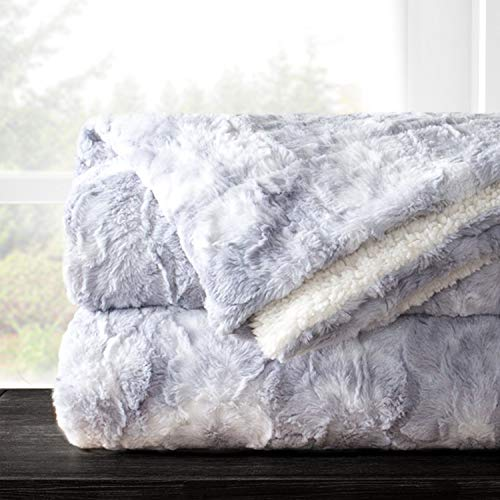 Italian Luxury Super Soft Faux Fur Throw Blanket - Elegant Cozy Hypoallergenic Ultra Plush Machine Washable Shaggy Fleece Blanket - 60