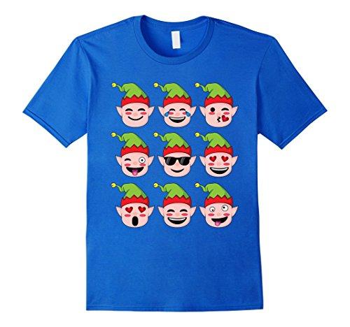 Buddy The Elf Outfit (Mens Christmas Elf T-Shirt, Santa's Elves Christmas Emoji Shirt Small Royal Blue)