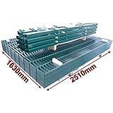 Doppelstab-Mattenzaun Komplett-Set / Grün / 163cm hoch / 30m lang / Metallzaun Zaun Zaunanlage Gartenzaun