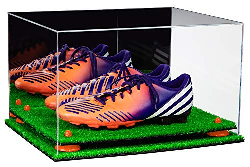 9d2edf57243 Deluxe Acrylic Large Shoe Pair Display Case for Basketball Shoes Soccer  Cleats Football Cleats with Mirror