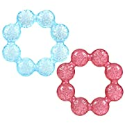 Nuby Pur Ice Bite Soother Ring Teether, 2 Count - Blue/Pink