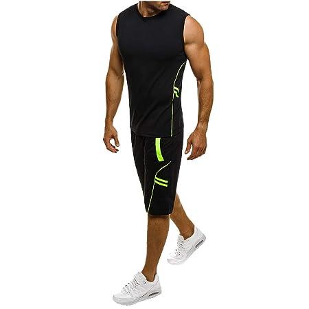c79d5f6fcbc91 Amazon.com   Dreamyth-Mens 2Pcs Men Tracksuit Casual Slim Sleeveless Tank  Top T-Shirt Shorts Pants Suit Top Blouse   Sports   Outdoors