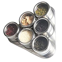 Nakital Magnetic Spice Tins, Multi-Purpose Stainless Steel Spice Rack Jars Round Storage 6 Spice Set for Dried Herbs, Crafts, Pepper, Chilli Container