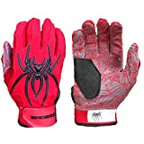 2016 Spiderz Red/Black HYBRID Baseball/Softball Batting Gloves w/Spider Web Grip and Protective Top Hand in Adult & Youth Sizes - Professional (PRO) Quality (Adult Medium, M)