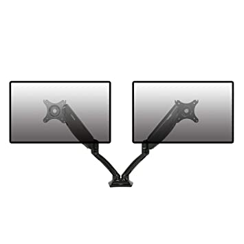 Loctek Monitor Arm Gas Spring for 2 Computer Screens 10 to 27 inches - Each Arm Holds up to 11lbs (Dual arm for 11lbs)