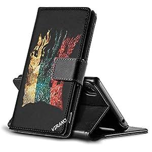 Bandera Rasgada Rusa, Negro Funda de Piel Cuero Case Magnética con Función de Soporte Carcasa con Diseño Colorido para Sony Xperia Z3