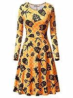 KIRA Women's Halloween Long Sleeve Scoop Neck Printed Casual Midi Party Dress
