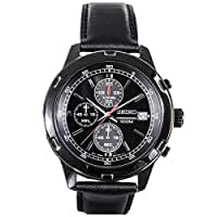 Seiko\x20Mens\x20Black\x20Leather\x20Strap\x20Chronograph\x20Sport\x20Watch\x20SKS439