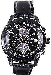 Seiko Mens Black Leather Strap Chronograph Sport Watch SKS439