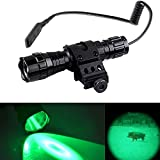 "Cheap 300 Yard Green Flashlight Tactical Night Hunting Light for Torch Pressure Switch Green Light for Rifle W/1"" Offset Mount"