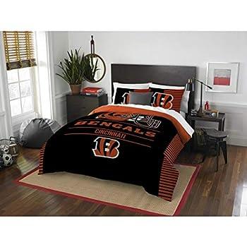 Image of 3 Piece NFL Cincinnati Bengals Comforter Full Queen Set, Sports Patterned Bedding, Featuring Team Logo, Fan Merchandise, Team Spirit, Football Themed, National Football League, Black, Orange, Unisex