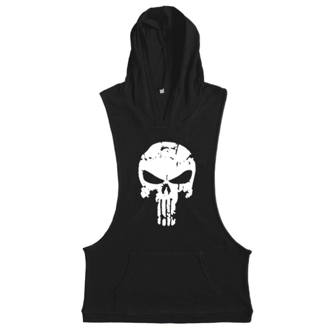 YeeHoo Herren Unterhemd Stringer Skull Bodybuilding Fitness Gym Tank Top Sport Hemd Weste mit Kapuze