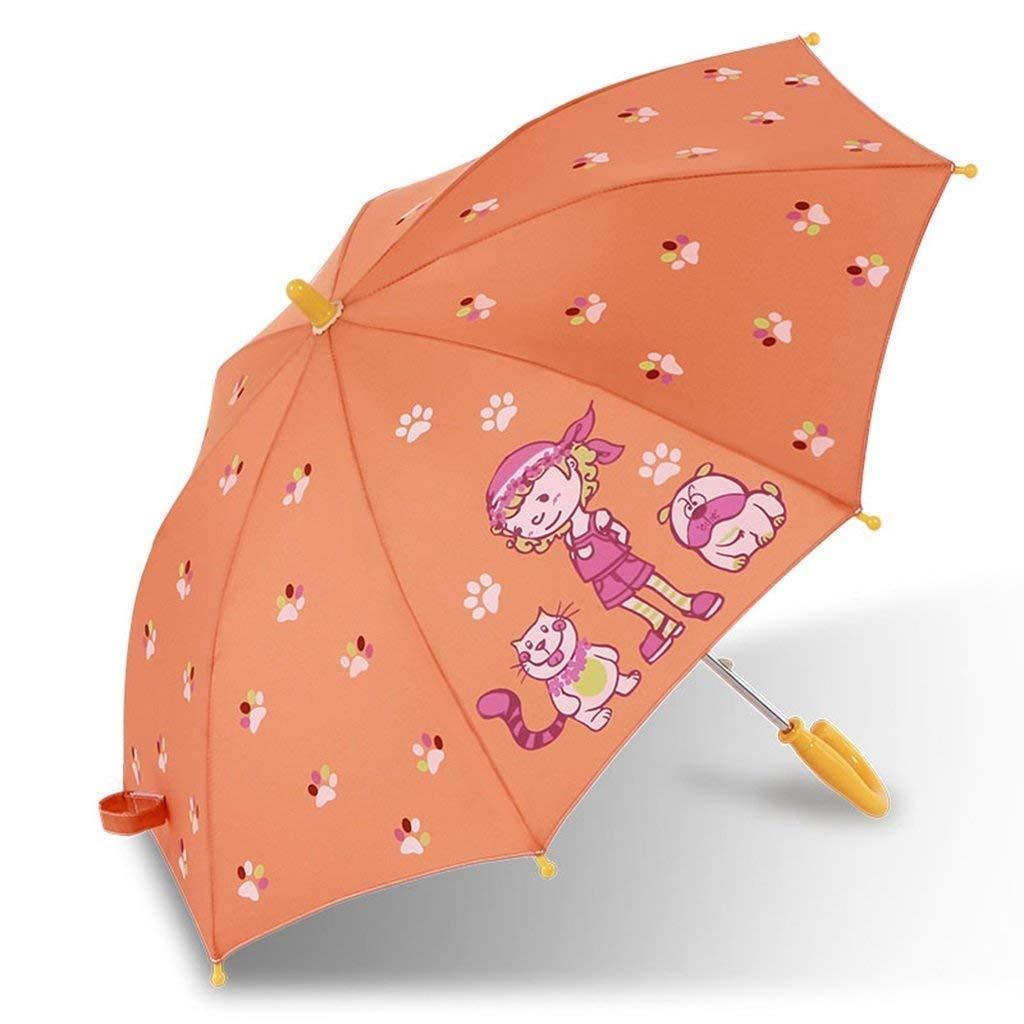 CQSMOO resiste al Vento Ombrello Pieghevole Ombrello Pieghevole Cute Cartoon Bambini Protezione del Sole Manico Dritto by (colore   B)