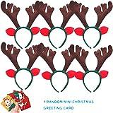 sept.filles 6-pack christmas headband antler santa claus snowman decoration (d)