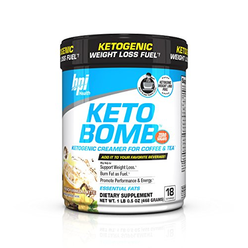 (BPI Health Keto Bomb - Ketogenic Coffee Creamer - Amazing Taste - Supports Weight Loss - Essential Fats - Boosts Energy - Increases Performance - 0 Sugar - French Vanilla Latte - 18 Servings - 16.5 oz)