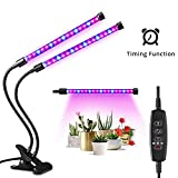 18W Timing Plant Grow Light, YEESON Dual Head 38 LED Dimmable Levels Grow