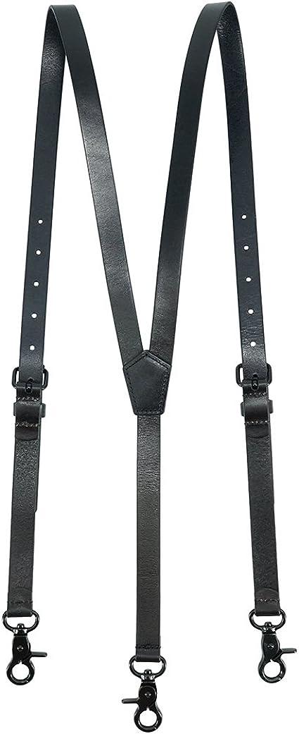 Lawevan Tirantes Hombre Estilo Steampunk - Cuero Genuino de Color Negro Brillante - 3 Ganchos de Presión - Ideal para Vestir Casual, Elegante y Formal: Amazon.es: Ropa y accesorios
