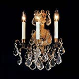 Weinstock Lighting 4830900-3AZ 3-Light Versailles Antique Reproduction Wall Sconce with French Pendeloque Trimming - Antique Bronze