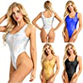 YiZYiF Women's Wet Look Leather Tank Thongs Bodysuit PVC One Piece Swimsuit Leotard