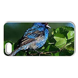 Blue Bird - Case Cover for iPhone 4 and 4s (Birds Series, Watercolor style, Black)