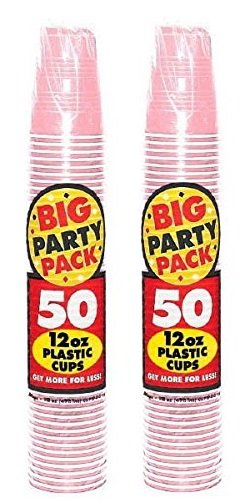 Amscan 671203159859 Big Party 50 Count Plastic Cups, 12-Ounce, New Pink (2 Pack), 1,