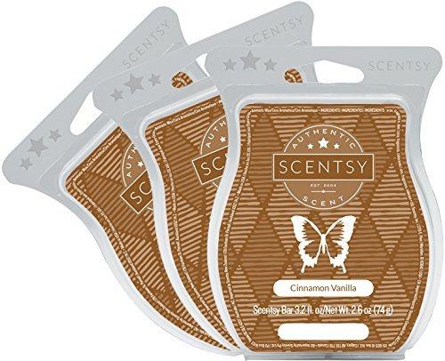 Scentsy, Cinnamon Vanilla, Wickless Candle Tart Warmer Wax 3.2 Oz Bar, 3-pack (3)