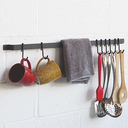 WALLNITURE Kitchen Rail Organizer Iron Hanging Utensils Rack with Hooks Frosty Black 30 Inch by Wallniture (Image #2)