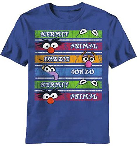 The Muppets Character Stripes Adult Navy T-shirt (Adult Large)