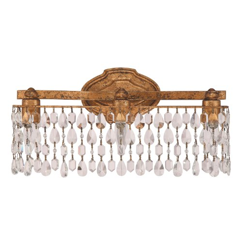 Capital Lighting 8528AG-CR Blakely 3-Light Vanity Fixture, Antique Gold Finish with Linear Clear Crystal Accents Shade