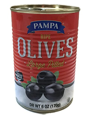 Ripe Large Pitted Black Olives - Product of Spain - 6 Oz Can - Easy Opening Can (Olives Pitted Black)