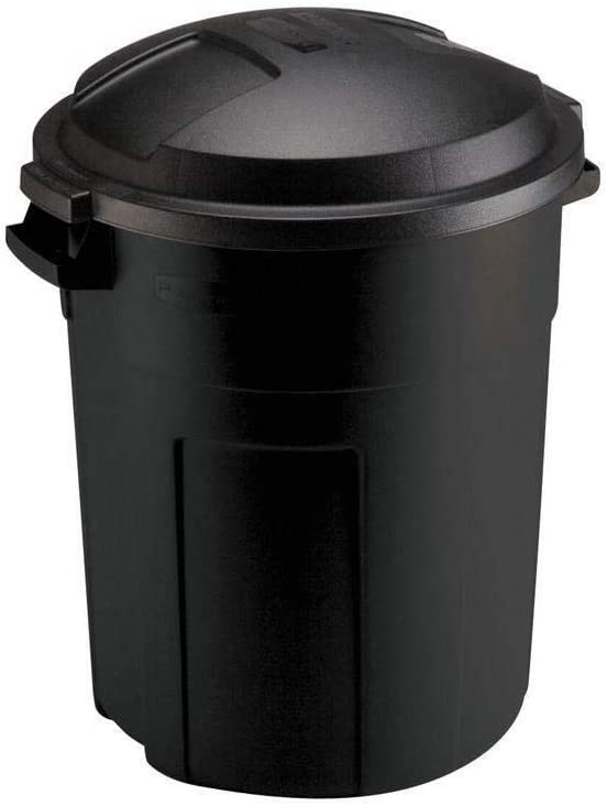 Home & Comforts Trash Can with Lid Roughneck Round Black Outdoor Heavy Duty 20 Gal - Trash can with lid - Kitchen Trash can - Outdoor Trash can for Patio Camping Trash can - Camping Trash can.