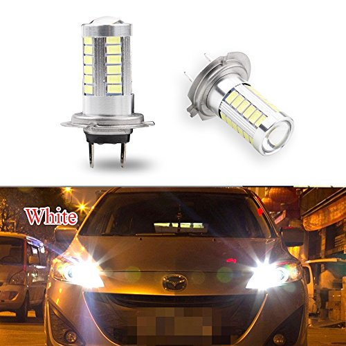 2pcs Super Bright 6500K White 5730 33-SMD H7 High Power LED Bulbs for Fog Driving Light Lamps Replacement 12V