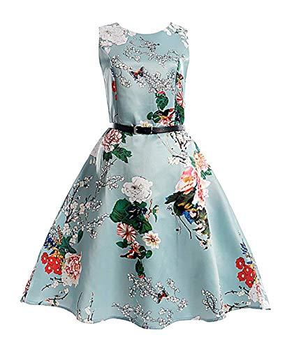 MOREMOO Girls Sleeveless Retro Vintage Floral Print Swing Party Dress(Pattern-1 7-8 Years)