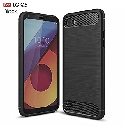 purchase cheap 7be38 6b98f FABUCARE Shock Proof Brushed Back Cover for LG Q6 (Metallic Black)